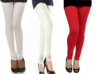 Cotton White,Off-White And Red Color Leggings Combo Of 3 @ Rs617.00