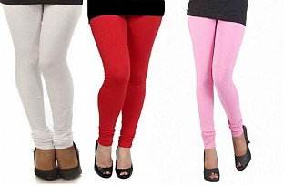 Cotton White,Red and Light Pink Color Leggings Combo @ Rs617.00