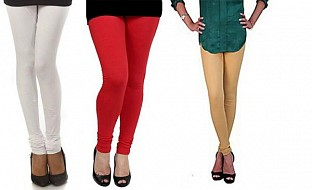 Cotton White,Red and Biege Color Leggings Combo @ Rs617.00