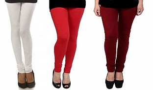 Cotton White,Red and Brown Color Leggings Combo@ Rs.617.00