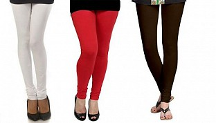 Cotton White,Red and Dark Brown Color Leggings Combo @ Rs617.00