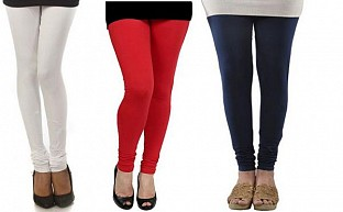 Cotton White,Red and Dark Blue Color Leggings Combo @ Rs617.00