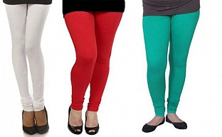 Cotton White,Red and Rama Green Color Leggings Combo@ Rs.617.00