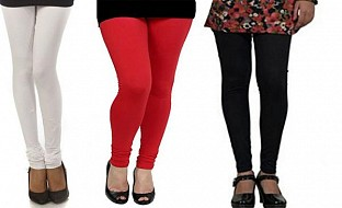 Cotton White,Red and Black Color Leggings Combo @ Rs617.00