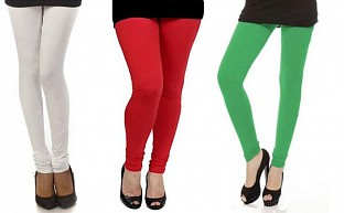 Cotton White,Red and Green Color Leggings Combo @ Rs617.00