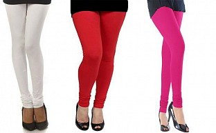 Cotton White,Red and Pink Color Leggings Combo @ Rs617.00