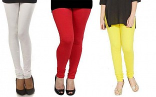 Cotton White,Red and Light Yellow Color Leggings Combo @ Rs617.00