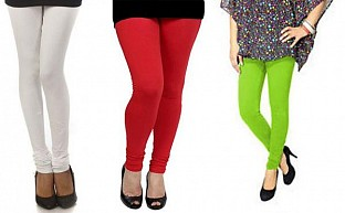 Cotton White,Red and Parrot Green Color Leggings Combo@ Rs.617.00