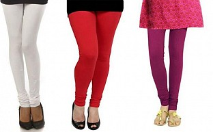 Cotton White,Red and Dark Pink Color Leggings Combo @ Rs617.00