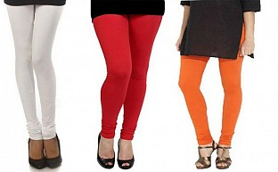 Cotton White,Red and Orange Color Leggings Combo @ Rs617.00