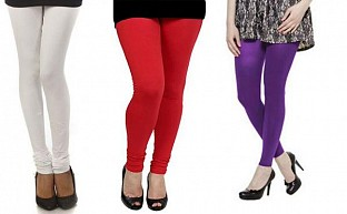 Cotton White,Red and Purple Color Leggings Combo @ Rs617.00