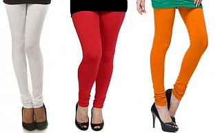 Cotton White,Red and Dark Orange Color Leggings Combo @ Rs617.00