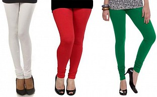 Cotton White,Red and Dark Green Color Leggings Combo @ Rs617.00