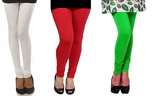 Cotton White,Red and Light Green Color Leggings Combo @ Rs617.00