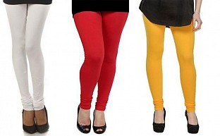 Cotton White,Red and Yellow Color Leggings Combo @ Rs617.00