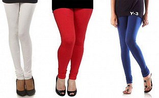 Cotton White,Red and Blue Color Leggings Combo @ Rs617.00