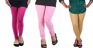 Cotton Pink,Light Pink and Biege Color Leggings Combo @ Rs617.00