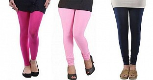 Cotton Pink,Light Pink and Dark Blue Color Leggings Combo @ Rs617.00