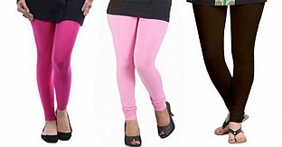Cotton Pink,Light Pink and Dark Brown Color Leggings Combo @ Rs617.00