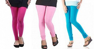Cotton Pink,Light Pink and Sky Blue Color Leggings Combo @ Rs514.00