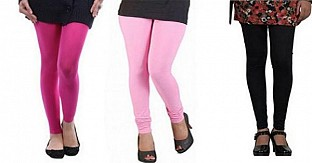 Cotton Pink,Light Pink and Black Color Leggings Combo @ Rs617.00