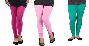 Cotton Pink,Light Pink and Rama Green Color Leggings Combo@ Rs.617.00