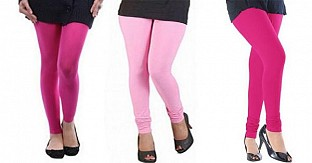 Cotton Pink,Light Pink and Pink Color Leggings Combo @ Rs617.00