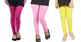 Cotton Pink,Light Pink and Light Yellow Color Leggings Combo@ Rs.617.00