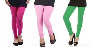 Cotton Pink,Light Pink and Green Color Leggings Combo @ Rs617.00