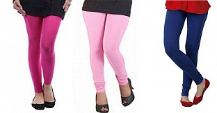 Cotton Pink,Light Pink and Royal Blue Color Leggings Combo @ Rs617.00