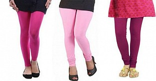 Cotton Pink,Light Pink and Dark Pink Color Leggings Combo @ Rs617.00