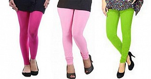 Cotton Pink,Light Pink and Parrot Green Color Leggings Combo@ Rs.617.00