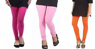 Cotton Pink,Light Pink and Orange Color Leggings Combo @ Rs617.00
