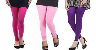 Cotton Pink,Light Pink and Purple Color Leggings Combo@ Rs.617.00