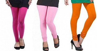 Cotton Pink,Light Pink and Dark Orange Color Leggings Combo@ Rs.617.00