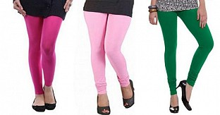 Cotton Pink,Light Pink and Dark Green Color Leggings Combo @ Rs617.00