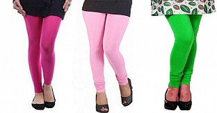 Cotton Pink,Light Pink and Light Green Color Leggings Combo@ Rs.617.00