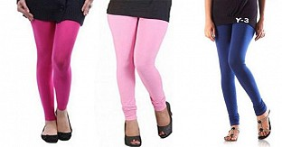 Cotton Pink,Light Pink and Blue Color Leggings Combo @ Rs617.00