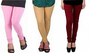 Cotton Light Pink,Biege and Brown Color Leggings Combo @ Rs617.00