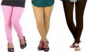 Cotton Light Pink,Biege and Dark Brown Color Leggings Combo @ Rs617.00