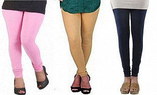 Cotton Light Pink,Biege and Dark Blue Color Leggings Combo @ Rs617.00