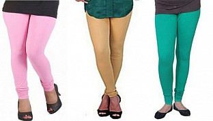 Cotton Light Pink,Biege and Rama Green Color Leggings Combo @ Rs617.00
