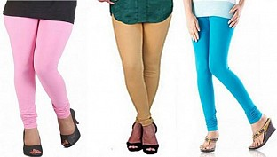 Cotton Light Pink,Biege and Sky Blue Color Leggings Combo @ Rs617.00