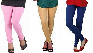 Cotton Light Pink,Biege and Royal Blue Color Leggings Combo@ Rs.617.00