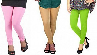 Cotton Light Pink,Biege and Parrot Green Color Leggings Combo@ Rs.617.00