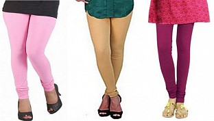 Cotton Light Pink,Biege and Dark Pink Color Leggings Combo@ Rs.617.00