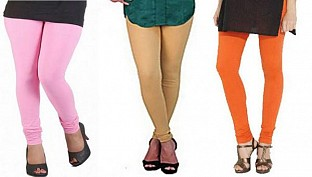 Cotton Light Pink,Biege and Orange Color Leggings Combo@ Rs.617.00