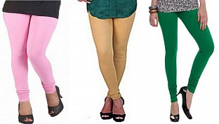 Cotton Light Pink,Biege and Dark Green Color Leggings Combo @ Rs617.00
