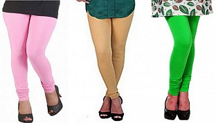 Cotton Light Pink,Biege and Light Green Color Leggings Combo@ Rs.617.00