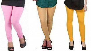 Cotton Light Pink,Biege and Yellow Color Leggings Combo @ Rs617.00
